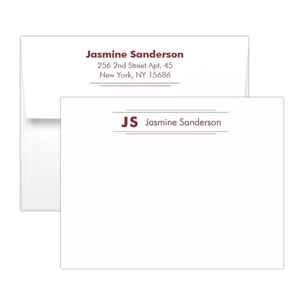 Personalized note cards 'Modern Stripes' - Maroon - Dazzling Daisies