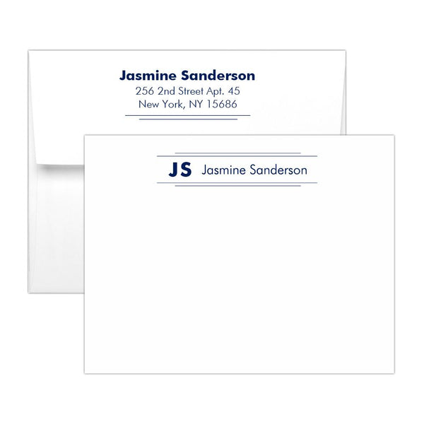 Personalized note cards 'Modern Stripes' - Navy - Dazzling Daisies