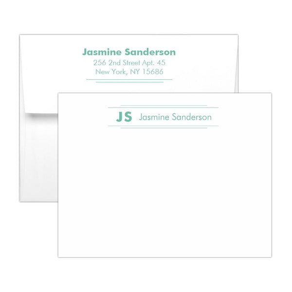 Personalized note cards 'Modern Stripes' - Ocean - Dazzling Daisies
