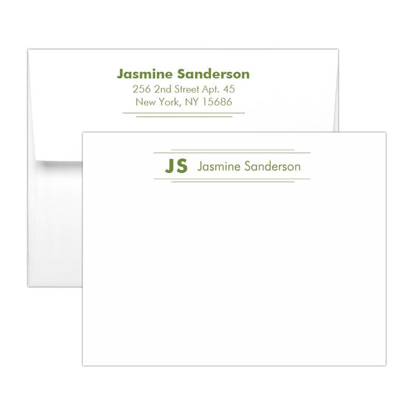 Personalized note cards 'Modern Stripes' - Olive - Dazzling Daisies