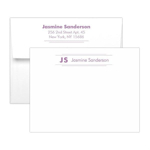 Personalized note cards 'Modern Stripes' - Plum - Dazzling Daisies