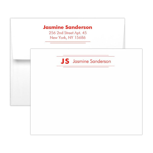 Personalized note cards 'Modern Stripes' - Red - Dazzling Daisies