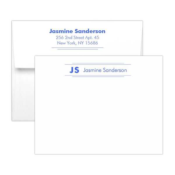 Personalized note cards 'Modern Stripes' - Royal blue - Dazzling Daisies