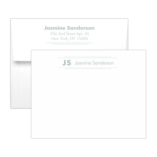 Personalized note cards 'Modern Stripes' - Sage - Dazzling Daisies