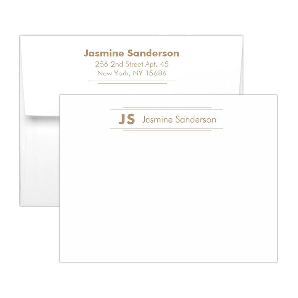 Personalized note cards 'Modern Stripes' - Sand - Dazzling Daisies