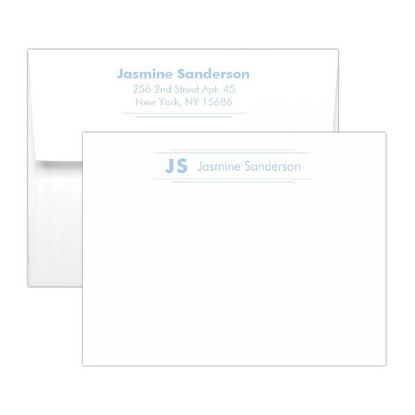 Personalized note cards 'Modern Stripes' - Steel blue - Dazzling Daisies