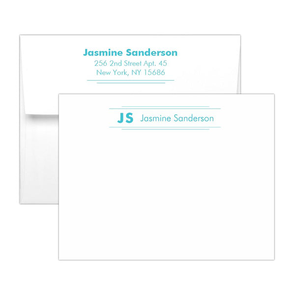 Personalized note cards 'Modern Stripes' - Turquoise - Dazzling Daisies