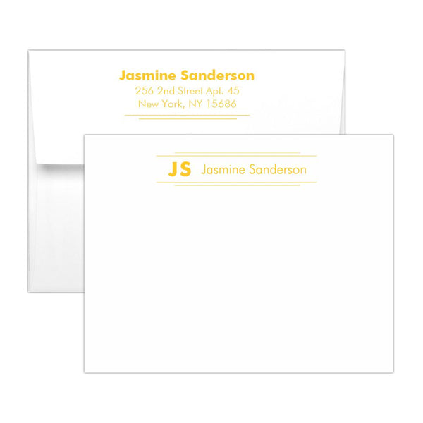 Personalized note cards 'Modern Stripes' - Yellow - Dazzling Daisies