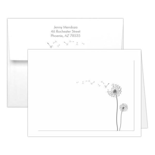 Note cards 'Dandelion Delight' - Gray - Dazzling Daisies