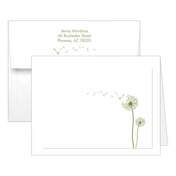 Note cards 'Dandelion Delight' - Olive - Dazzling Daisies
