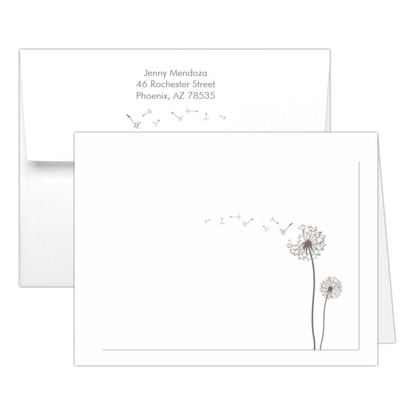 Note cards 'Dandelion Delight' - Taupe - Dazzling Daisies