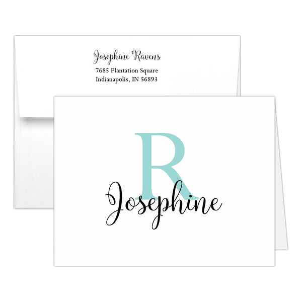 Personalized note cards 'Bold Whimsical' - Aquamarine - Dazzling Daisies