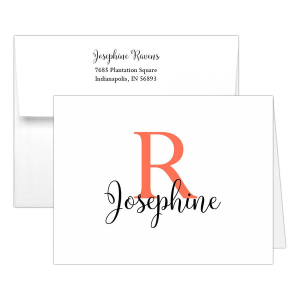 Personalized note cards 'Bold Whimsical' - Coral - Dazzling Daisies