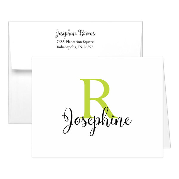 Personalized note cards 'Bold Whimsical' - Lime - Dazzling Daisies
