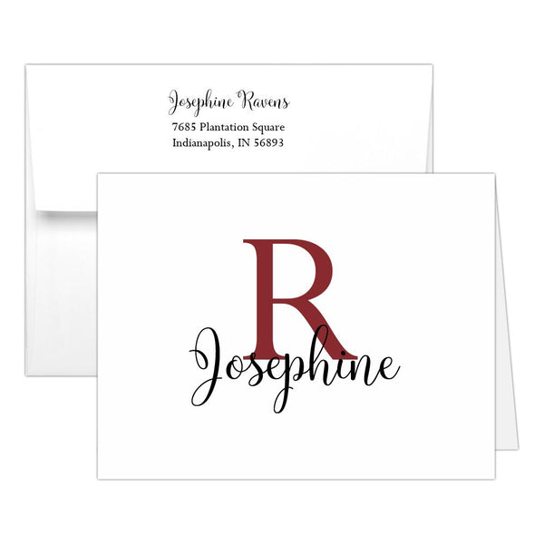 Personalized note cards 'Bold Whimsical' - Maroon - Dazzling Daisies