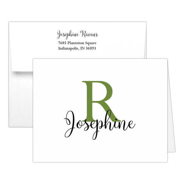Personalized note cards 'Bold Whimsical' - Olive - Dazzling Daisies