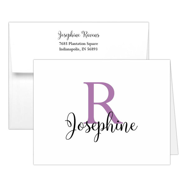 Personalized note cards 'Bold Whimsical' - Plum - Dazzling Daisies