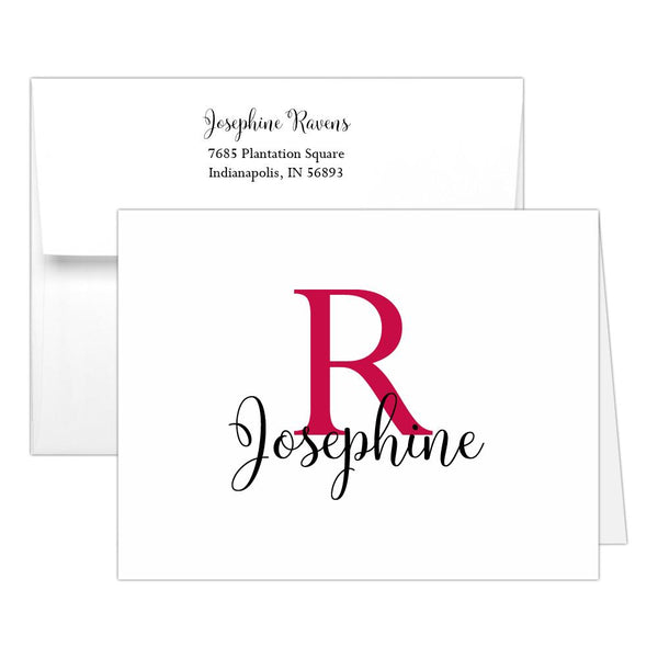 Personalized note cards 'Bold Whimsical' - Raspberry - Dazzling Daisies