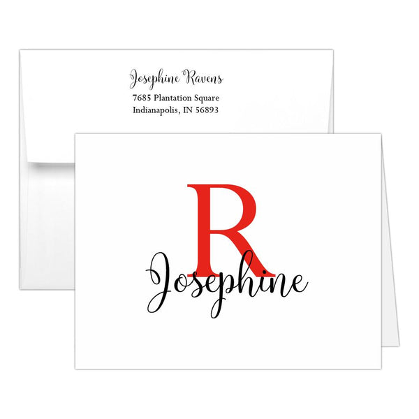 Personalized note cards 'Bold Whimsical' - Red - Dazzling Daisies
