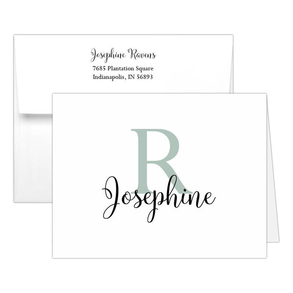Personalized note cards 'Bold Whimsical' - Sage - Dazzling Daisies