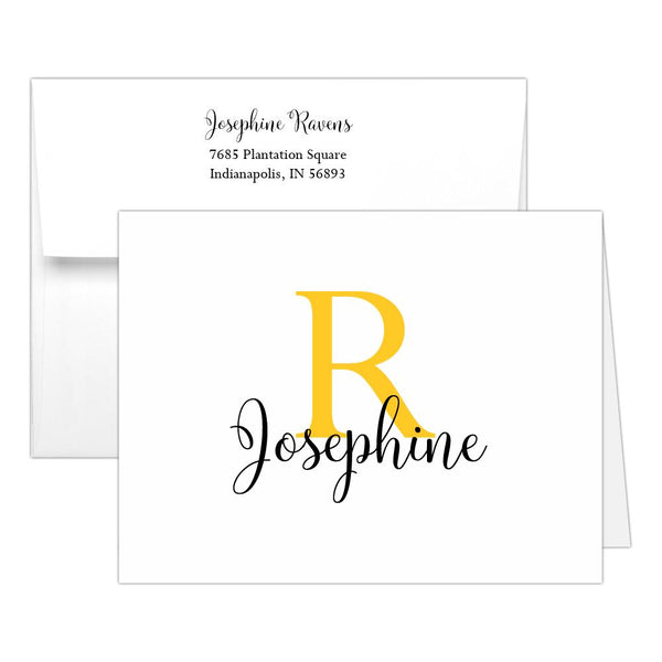 Personalized note cards 'Bold Whimsical' - Yellow - Dazzling Daisies