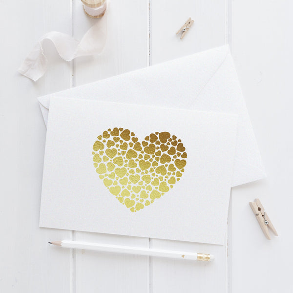 Note card 'Hearts Overload' - Gold foil - Dazzling Daisies