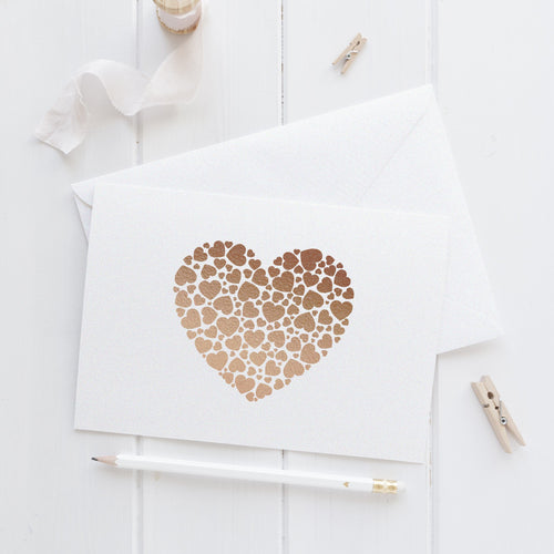 Note card 'Hearts Overload' - Rose gold foil - Dazzling Daisies