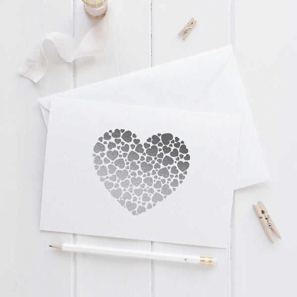 Note card 'Hearts Overload' - Silver foil - Dazzling Daisies