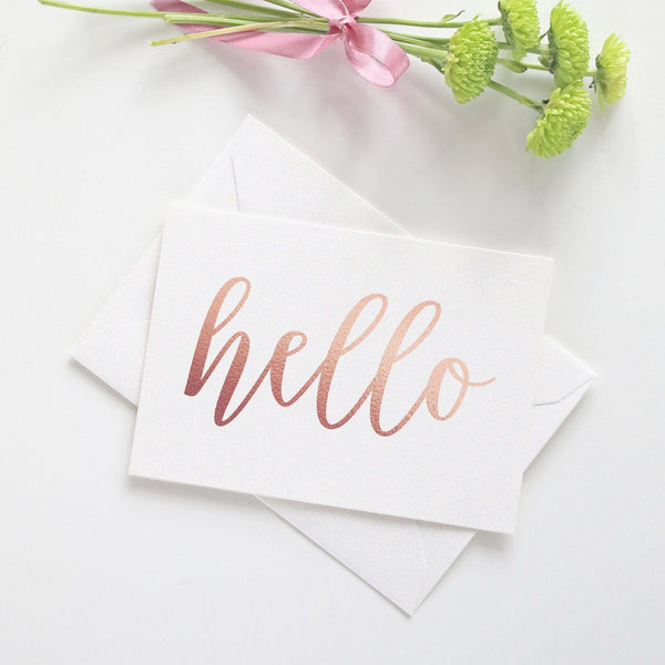 Note card 'Hello' - Rose gold foil - Dazzling Daisies