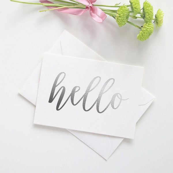 Note card 'Hello' - Silver foil - Dazzling Daisies