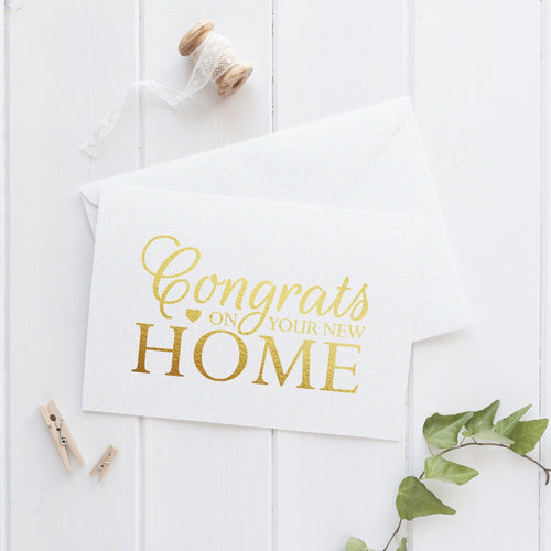 Congrats on your new home card 'Tiny Heart' - Gold foil - Dazzling Daisies