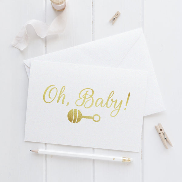 Oh baby card 'Rattle' - Gold foil - Dazzling Daisies