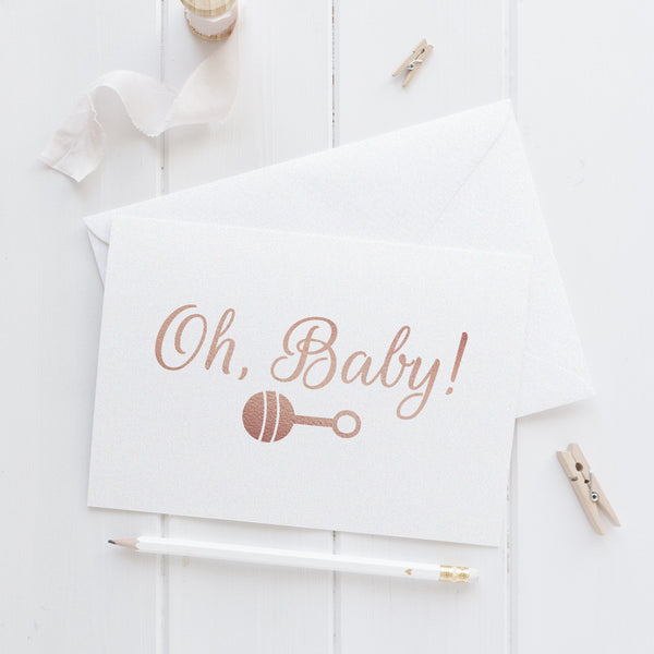 Oh baby card 'Rattle' - Rose gold foil - Dazzling Daisies