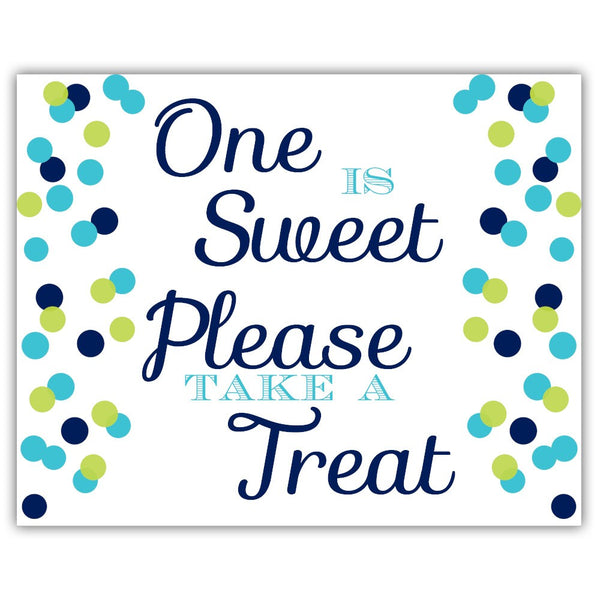 "One is sweet sign - 5x7"" / Navy/Lime - Dazzling Daisies"