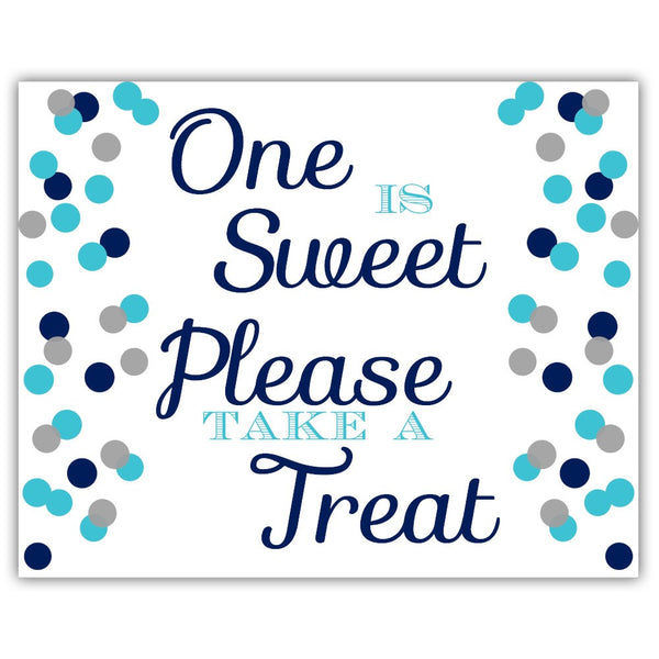 "One is sweet sign - 5x7"" / Navy/Silver - Dazzling Daisies"