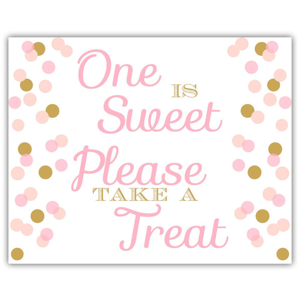 "One is sweet sign - 5x7"" / Gold/Pink - Dazzling Daisies"