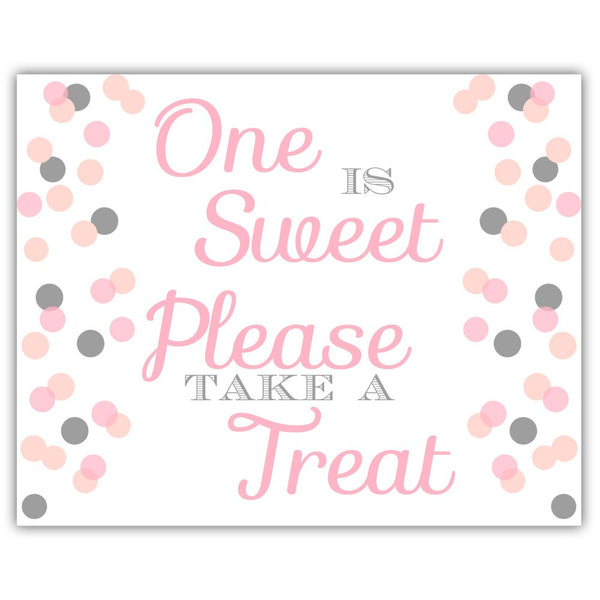 "One is sweet sign - 5x7"" / Silver/Pink - Dazzling Daisies"