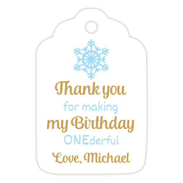 Onederful birthday tags - Gold/Sky blue - Dazzling Daisies