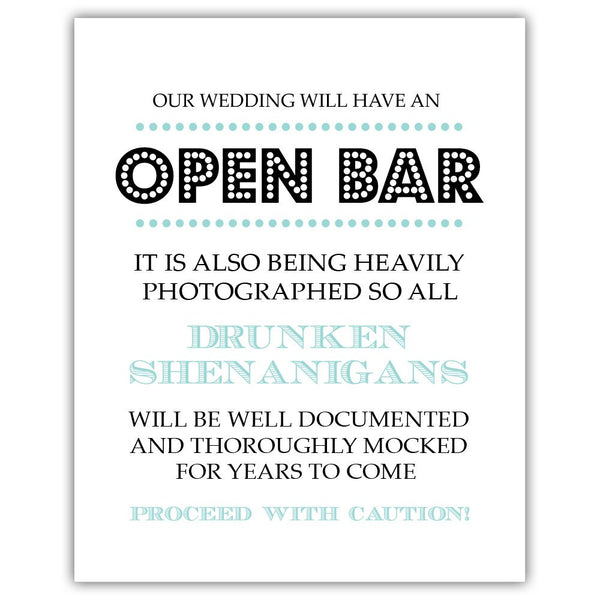 "Open bar sign - 5x7"" / Aquamarine - Dazzling Daisies"