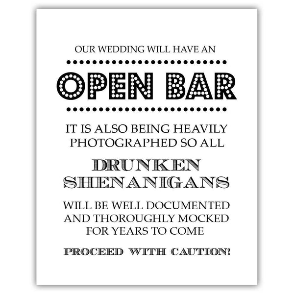 "Open bar sign - 5x7"" / Black - Dazzling Daisies"