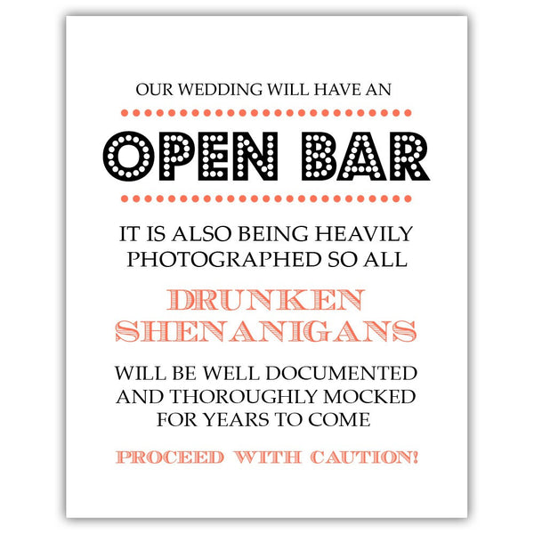 "Open bar sign - 5x7"" / Coral - Dazzling Daisies"