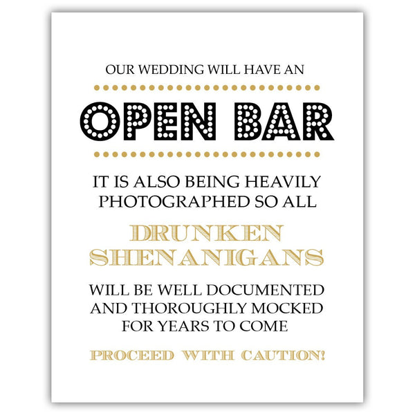 "Open bar sign - 5x7"" / Gold - Dazzling Daisies"
