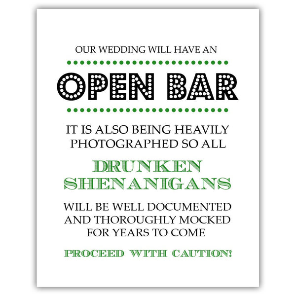 "Open bar sign - 5x7"" / Green - Dazzling Daisies"