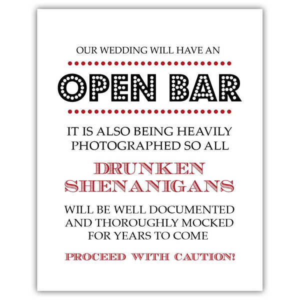 "Open bar sign - 5x7"" / Indian red - Dazzling Daisies"