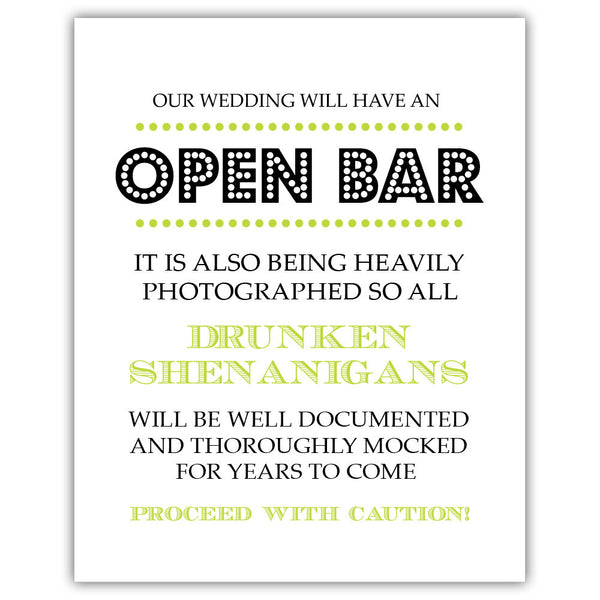 "Open bar sign - 5x7"" / Lime - Dazzling Daisies"