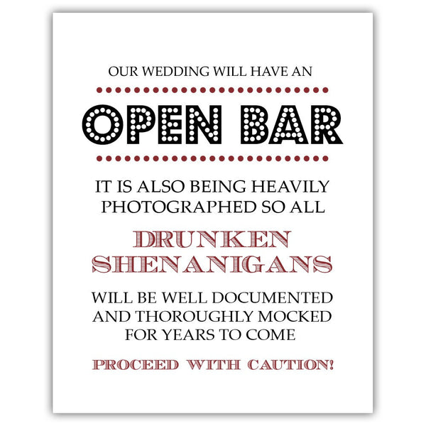 "Open bar sign - 5x7"" / Maroon - Dazzling Daisies"