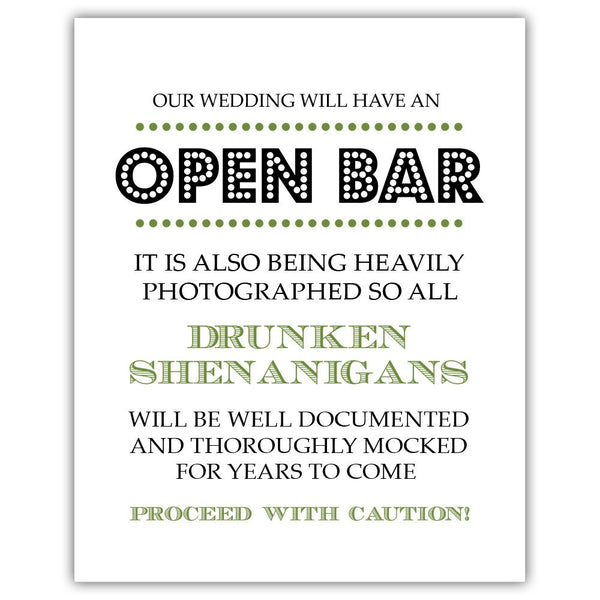 "Open bar sign - 5x7"" / Olive - Dazzling Daisies"