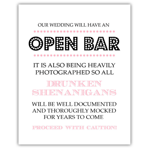 "Open bar sign - 5x7"" / Pink - Dazzling Daisies"