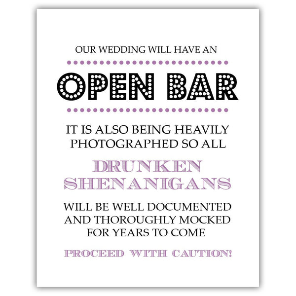 "Open bar sign - 5x7"" / Plum - Dazzling Daisies"