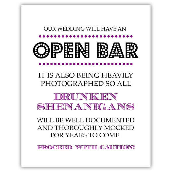 "Open bar sign - 5x7"" / Purple - Dazzling Daisies"